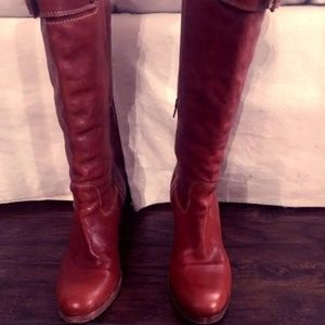 camel leather boot by coach